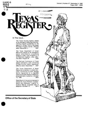Primary view of object titled 'Texas Register, Volume 5, Number 67, Pages 3587-3668, September 9, 1980'.