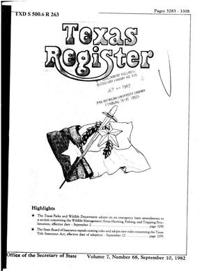 Primary view of object titled 'Texas Register, Volume 7, Number 68, Pages 3283-3308, September 10, 1982'.