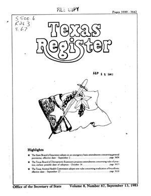 Primary view of object titled 'Texas Register, Volume 8, Number 67, Pages 3599-3642, September 13, 1983'.