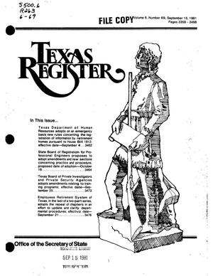 Primary view of object titled 'Texas Register, Volume 6, Number 69, Pages 3359-3488, September 15, 1981'.