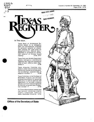 Primary view of object titled 'Texas Register, Volume 5, Number 69, Pages 3729-3776, September 16, 1980'.
