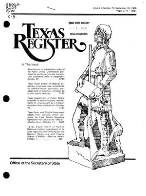 Primary view of object titled 'Texas Register, Volume 5, Number 70, Pages 3777-3824, September 19, 1980'.