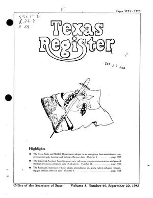 Primary view of object titled 'Texas Register, Volume 8, Number 69, Pages 3723-3770, September 20, 1983'.