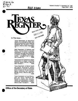 Primary view of object titled 'Texas Register, Volume 6, Number 71, Pages 3525-3552, September 22, 1981'.