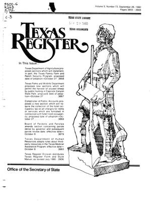 Primary view of object titled 'Texas Register, Volume 5, Number 72, Pages 3855-3908, September 26, 1980'.