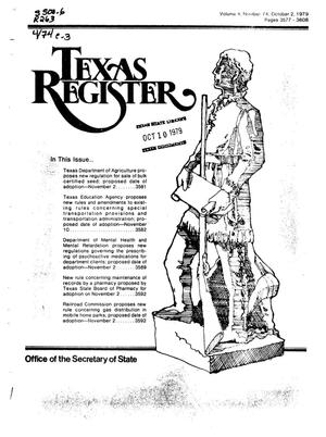 Primary view of object titled 'Texas Register, Volume 4, Number 74, Pages 3577-3608, October 2, 1979'.