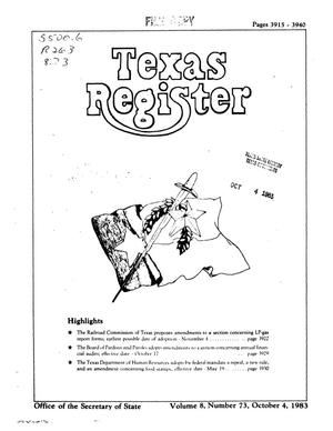 Primary view of object titled 'Texas Register, Volume 8, Number 73, Pages 3915-3940, October 4, 1983'.