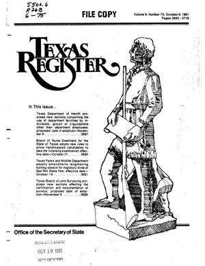 Primary view of object titled 'Texas Register, Volume 6, Number 75, Pages 3683-3718, October 6, 1981'.