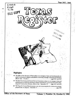 Primary view of object titled 'Texas Register, Volume 7, Number 76, Pages 3507-3640, October 8, 1982'.