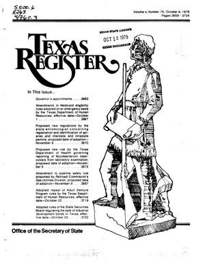 Primary view of object titled 'Texas Register, Volume 4, Number 76, Pages 3659-3734, October 9, 1979'.