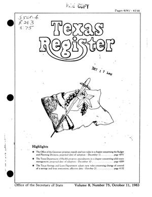 Primary view of object titled 'Texas Register, Volume 8, Number 75, Pages 4047-4156, October 11, 1983'.