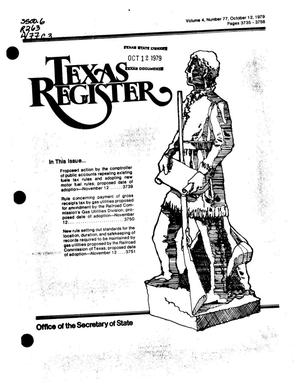 Primary view of object titled 'Texas Register, Volume 4, Number 77, Pages 3735-3758, October 12, 1979'.