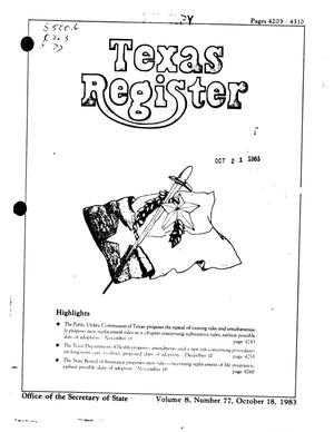 Primary view of object titled 'Texas Register, Volume 8, Number 77, Pages 4203-4310, October 18, 1983'.