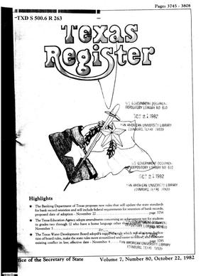 Primary view of object titled 'Texas Register, Volume 7, Number 80, Pages 3745-3808, October 22, 1982'.