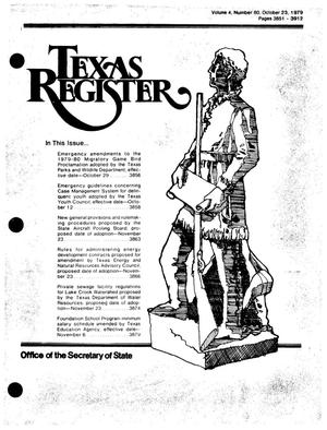 Primary view of object titled 'Texas Register, Volume 4, Number 80, Pages 3851-3912, October 23, 1979'.