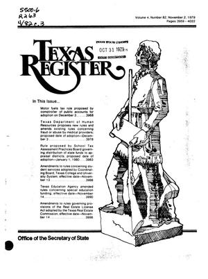 Primary view of object titled 'Texas Register, Volume 4, Number 82, Pages 3959-4022, November 2, 1979'.