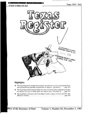 Primary view of object titled 'Texas Register, Volume 7, Number 83, Pages 3909-3943, November 5, 1982'.