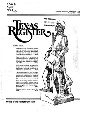 Primary view of object titled 'Texas Register, Volume 4, Number 83, Pages 4023-4088, November 6, 1979'.