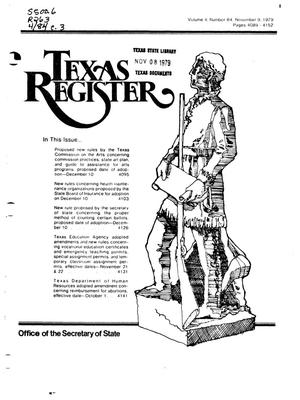 Primary view of object titled 'Texas Register, Volume 4, Number 84, Pages 4039-4152, November 9, 1979'.