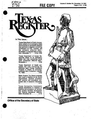Primary view of object titled 'Texas Register, Volume 6, Number 84, Pages 4143-4196, November 10, 1981'.