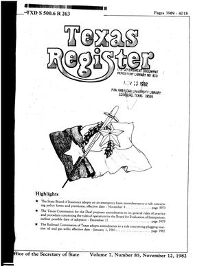 Primary view of object titled 'Texas Register, Volume 7, Number 85, Pages 3969-4018, November 12, 1982'.