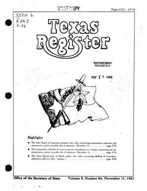 Primary view of object titled 'Texas Register, Volume 8, Number 84, Pages 4731-4474, November 15, 1983'.