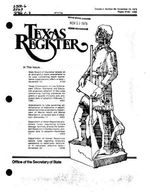 Primary view of object titled 'Texas Register, Volume 4, Number 86, Pages 4189-4228, November 16, 1979'.