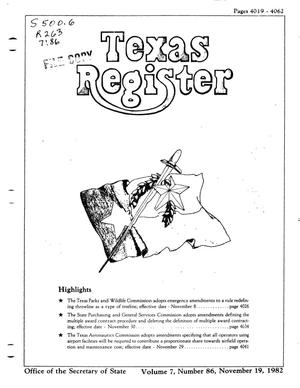 Primary view of object titled 'Texas Register, Volume 7, Number 86, Pages 4019-4062, November 19, 1982'.