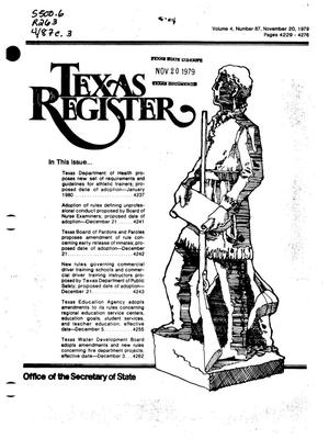 Primary view of object titled 'Texas Register, Volume 4, Number 87, Pages 4229-4276, November 20, 1979'.