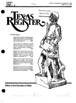 Primary view of object titled 'Texas Register, Volume 4, Number 88, Pages 4277-4300, November 23, 1979'.