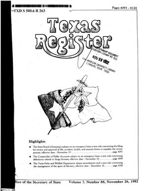 Primary view of object titled 'Texas Register, Volume 7, Number 88, Pages 4093-4124, November 26, 1982'.
