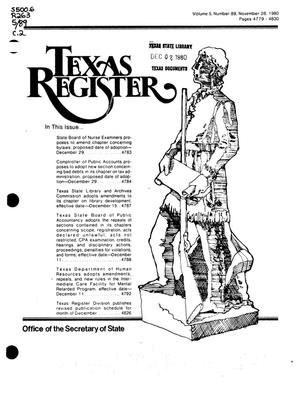 Primary view of object titled 'Texas Register, Volume 5, Number 89, Pages 4779-4830, November 28, 1980'.