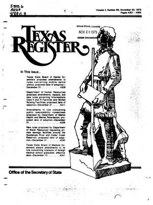 Primary view of object titled 'Texas Register, Volume 4, Number 89, Pages 4301-4362, November 30, 1979'.