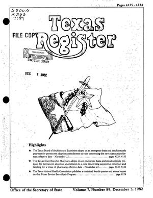 Primary view of object titled 'Texas Register, Volume 7, Number 89, Pages 4125-4234, December 3, 1982'.