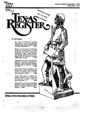 Primary view of object titled 'Texas Register, Volume 4, Number 90, Pages 4383-4410, December 4, 1979'.