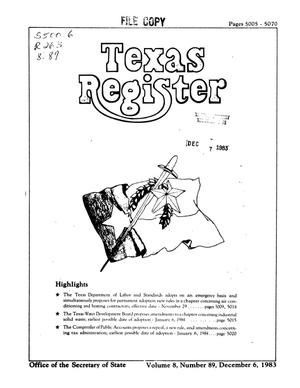 Primary view of object titled 'Texas Register, Volume 8, Number 89, Pages 5005-5070, December 6, 1983'.