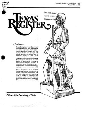 Primary view of object titled 'Texas Register, Volume 5, Number 91, Pages 4869-4890, December 9, 1980'.