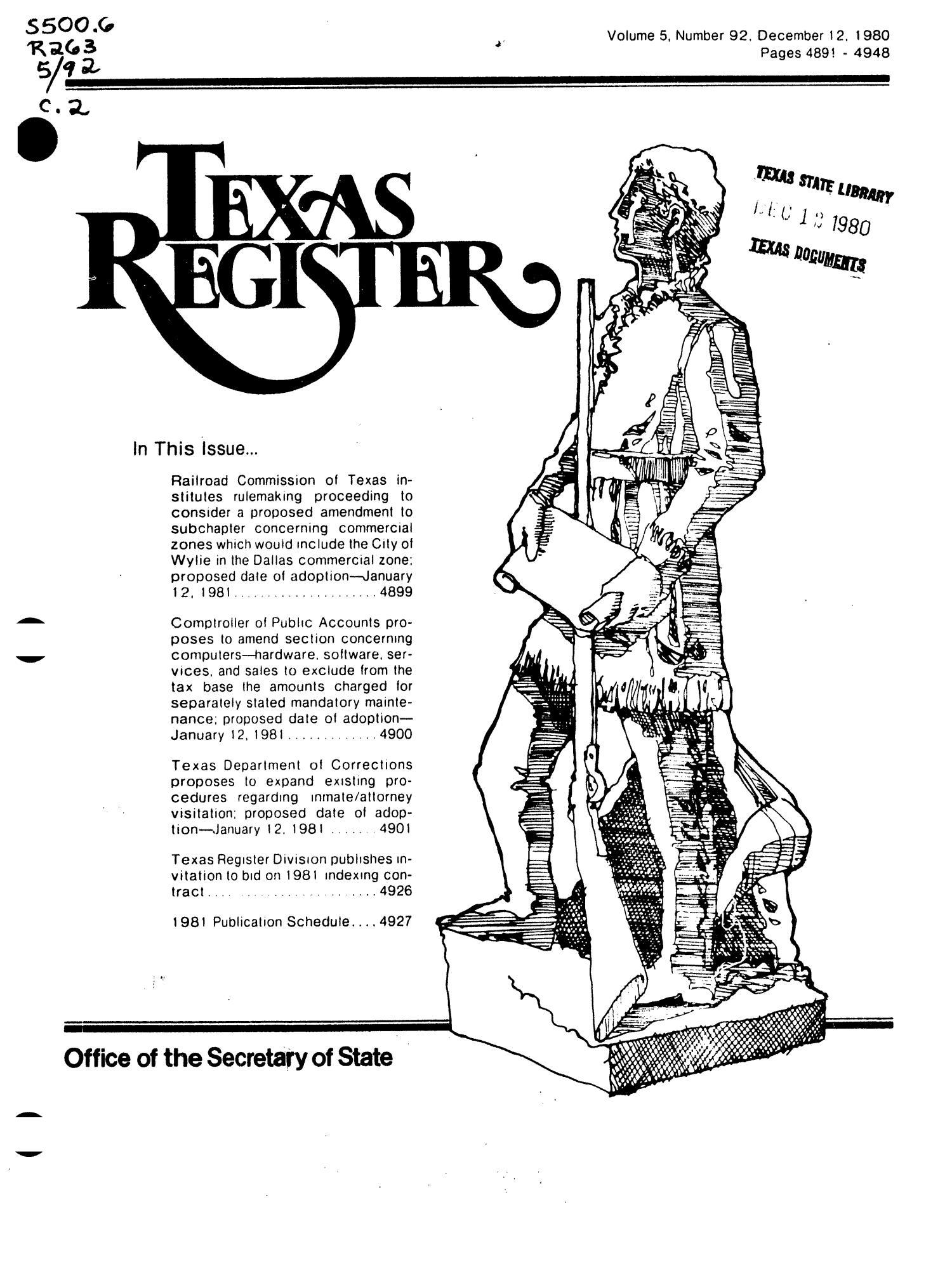 Texas Register, Volume 5, Number 92, Pages 4891-4948, December 12