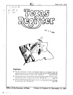 Primary view of object titled 'Texas Register, Volume 8, Number 91, Pages 5153-5200, December 13, 1983'.