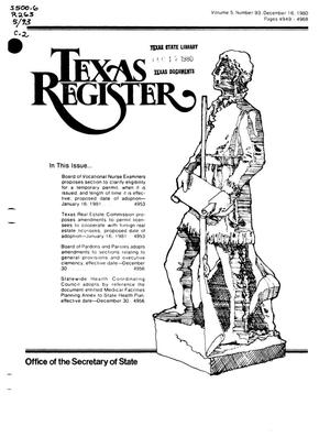 Primary view of object titled 'Texas Register, Volume 5, Number 93, Pages 4949-4968, December 16, 1980'.