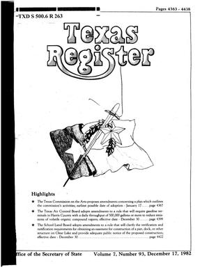 Primary view of object titled 'Texas Register, Volume 7, Number 93, Pages 4363-4438, December 17, 1982'.