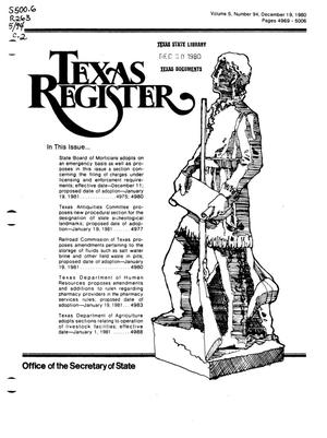 Primary view of object titled 'Texas Register, Volume 5, Number 94, Pages 4969-5006, December 19, 1980'.
