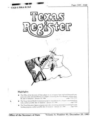 Primary view of object titled 'Texas Register, Volume 8, Number 93, Pages 5297-5368, December 20, 1983'.