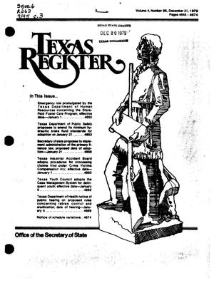 Primary view of object titled 'Texas Register, Volume 4, Number 95, Pages 4845-4874, December 21, 1979'.