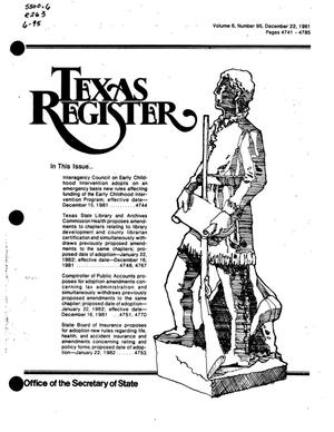 Primary view of object titled 'Texas Register, Volume 6, Number 95, Pages 4741-4785, December 22, 1981'.