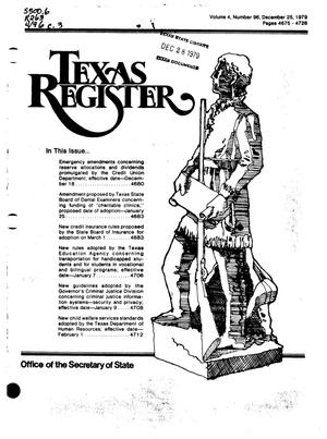 Primary view of object titled 'Texas Register, Volume 4, Number 96, Pages 4675-4728, December 25, 1979'.