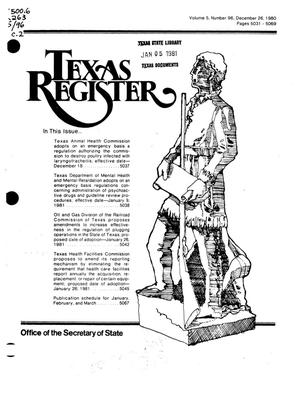 Primary view of object titled 'Texas Register, Volume 5, Number 96, Pages 5031-5069, December 26, 1980'.