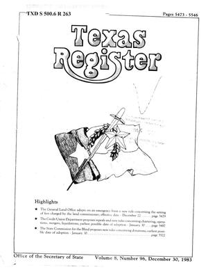 Primary view of object titled 'Texas Register, Volume 8, Number 96, Pages 5473-5546, December 30, 1983'.