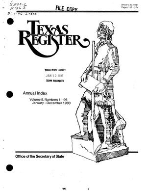 Primary view of object titled 'Texas Register, Volume 5, 1980 Annual Index, Pages 157-274, January 30, 1981'.