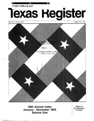 Primary view of object titled 'Texas Register, Volume 8, Annual Index I, Pages 221-350, February 3, 1983'.